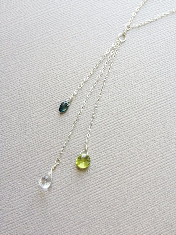 Mothers Birthstone Necklace Three Kids Necklace by HouseofWire