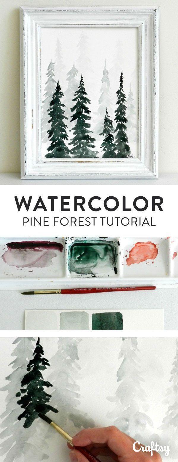 Anleitung Aquarell Tannen Wald Bäume malen