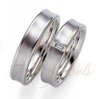 F038 14k Fehér arany 0,06ct gyémánt karikagyűrű pár