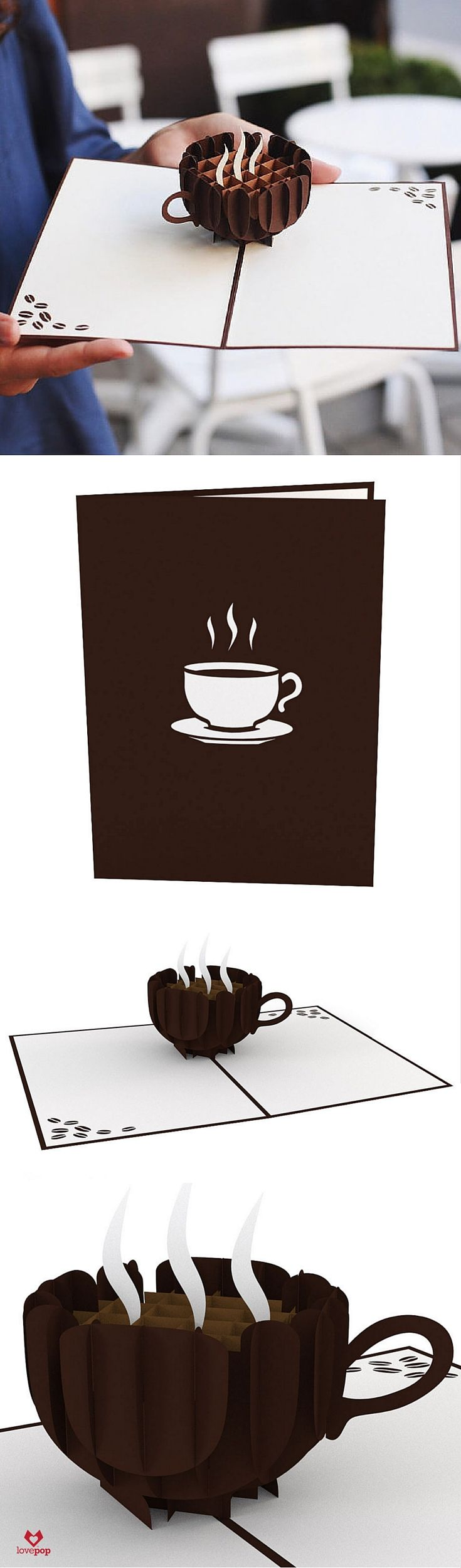Gift the best part of the morning to your favorite coffee lover with this laser cut pop up greeting card. #caffeineaddict                                                                                                                                                                                 Plus