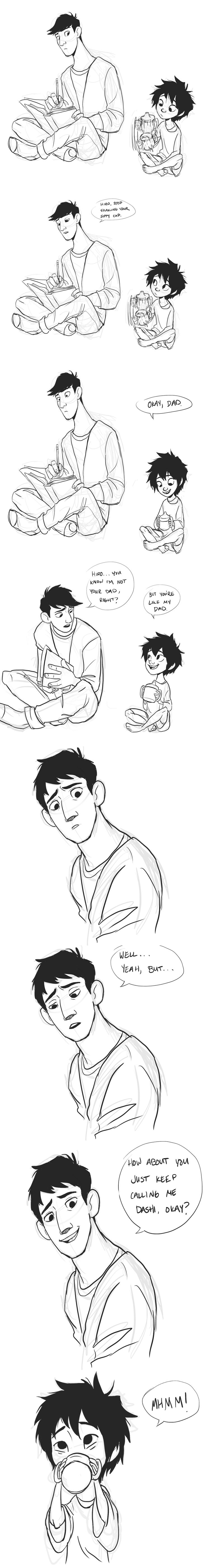 baby!hiro and papa!tadashi. by uponagraydawn on tumblr.<<<hiros so  inncocent and happy