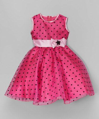 Look what I found on #zulily! Fuchsia & Black Polka Dot A-Line Dress - Toddler & Girls #zulilyfinds