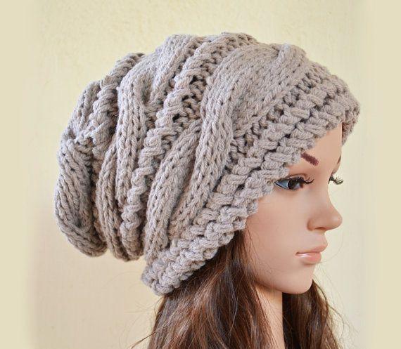 Sombrero de la gorrita tejida de cable slouchy por BeanieVille