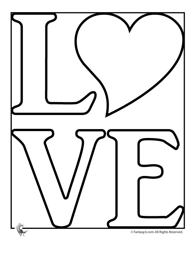 Love Coloring Pages L-O-V-E Coloring Page – Fantasy Jr.