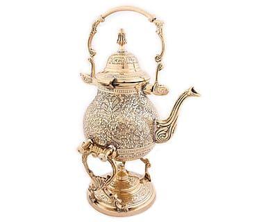 Чайник с горелкой - латунь - золотой, 34х21х18 см