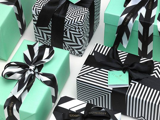 Claridge's Hotel packaging: Mint Green, Giftwrap, Color Schemes, Color Combos, Packaging, Black And White, Black White, Gifts Wraps, Wraps Idea