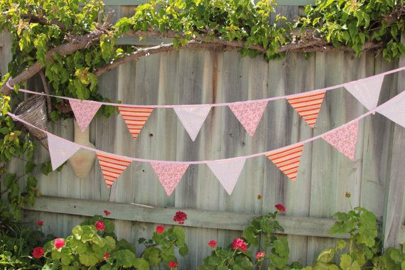 Stripes Spots & Roses Bunting  15 flags 4.5m by Buntingbybubbles