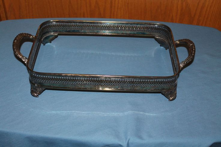# 1844 / Silver Plated / Silverplated Footed Rectangle Dish Tray Holder