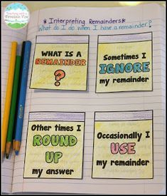 Teaching Long Division. What do I do with my remainders? Free printable to help your students learn the different procedures! More