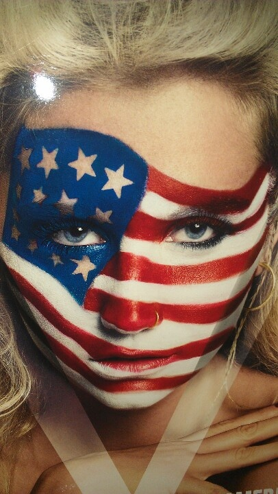 Patriotic Flag Face Paint....God Bless the USA....miss you too.