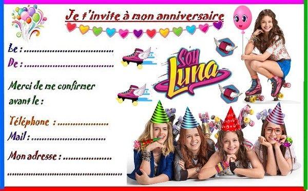 Etiquettes et invitations SOY LUNA pour anniversaire