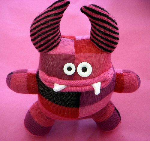 pink sock monster by katedowding, via Flickr