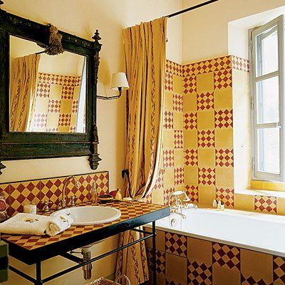wonderful tiled bathroom love the colors punctuated with blackvariation for the