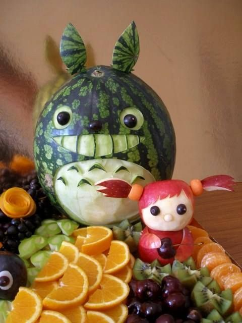 Totoro Fruit Sculpture