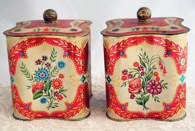 Pair of vintage red tins