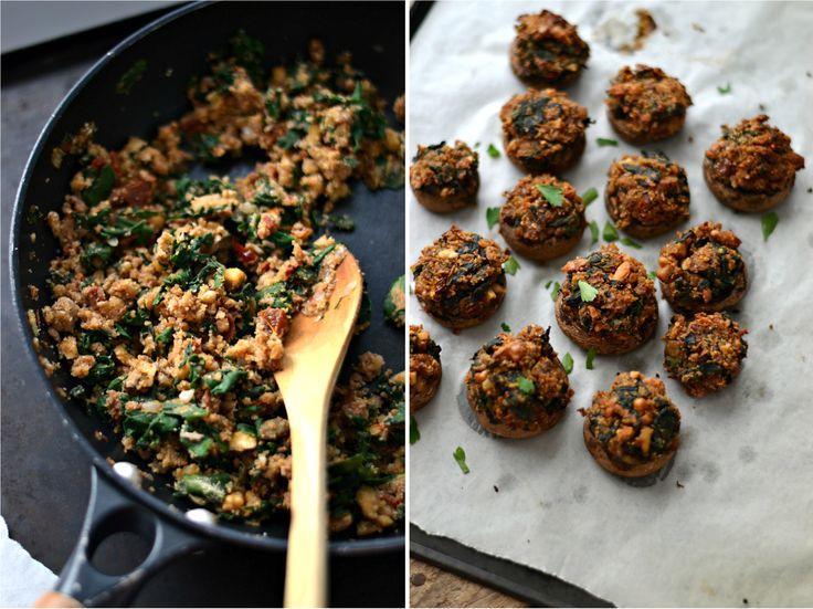 Cogumelos recheados vegan by compassionate uisine
