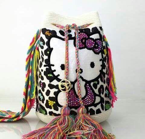 Wayuu Mochila bag leopard and hello kitty