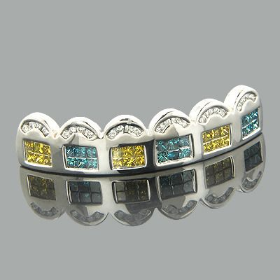 Real HipHop Jewelry! These 14K Gold White Blue Yellow Real Diamond Grillz from our bling bling hip hop jewelry collection weigh approximately 9 grams and showcase 1.76 carats of channel-set white diamonds and dazzling fancy blue and canary yellow princess cut diamonds, each invisibly set in a lustrous white gold frame. Featuring a unique pattern and a highly polished gold finish, these fantastic real diamond grillz are fully customizable and can be manufactured with any color diamonds…
