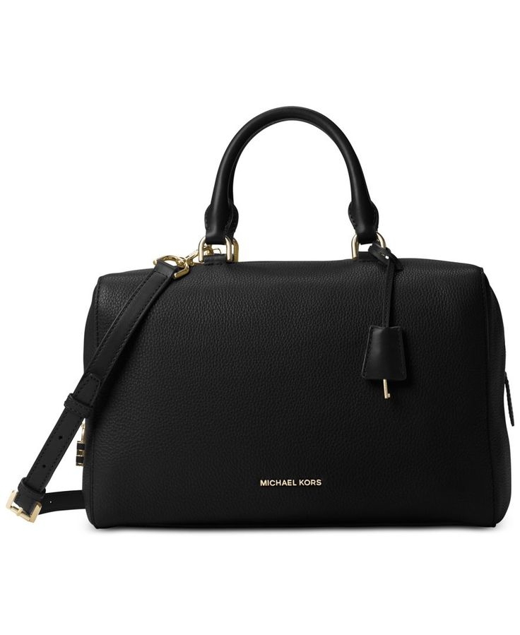 This generously-sized satchel makes a luxe statement in small pebble leather with intuitive organization tucked inside. Carry it in hand or over the shoulder for effortless versatility. By Michael Mic