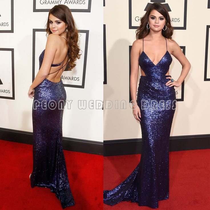Red Carpet Selena Gomez Celebrity Dress V Neck Purple Sequin Dresses Long Formal Dresses Backless Evening Party Dress ED09
