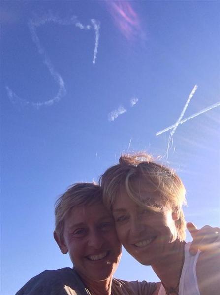 Portia de Rossi gets skywritting message for Ellen DeGeneres on wedding anniversary - BelleNews.com