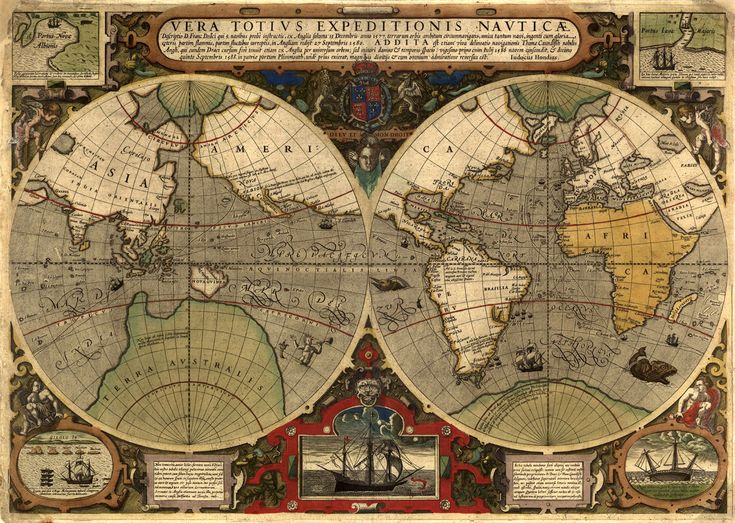 1577-1580 voyage of Sir Francis Drake. Map created in 1595.