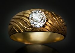 art nouveau ct old mine diamond and yellow gold mens ring for sale