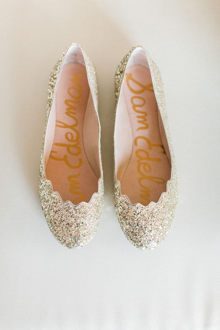 Wedding shoes, gold flats, sparkly, scalloped sparkles // Pinkerton Photography