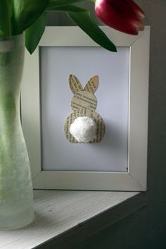 Old book page bunny. Cute spring or Easter decorating idea. Simple & Adorable, easy to make. I would use Music sheets. Use white thick paper and make table place cards.