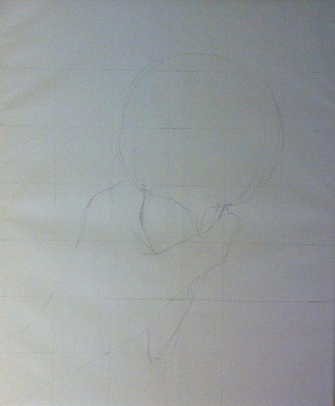 Outlining raw icecream. Oil on canvas