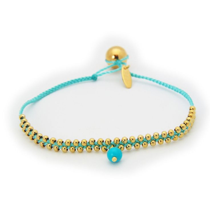 """Silver Gold Plated Beads Turquoise Cord October Bracelet Turquoise Birthstone Hangging 6"""""""
