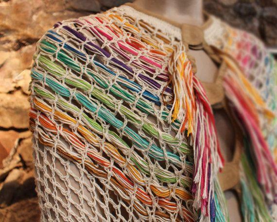 Crochet poncho crochetted wrap fringes poncho by quirogaquiroga