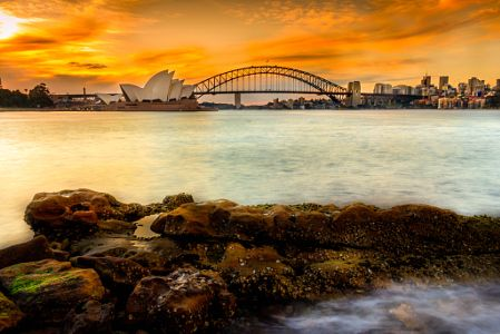 Opera House and Habour Bridge in sunset by Danh Nguyen