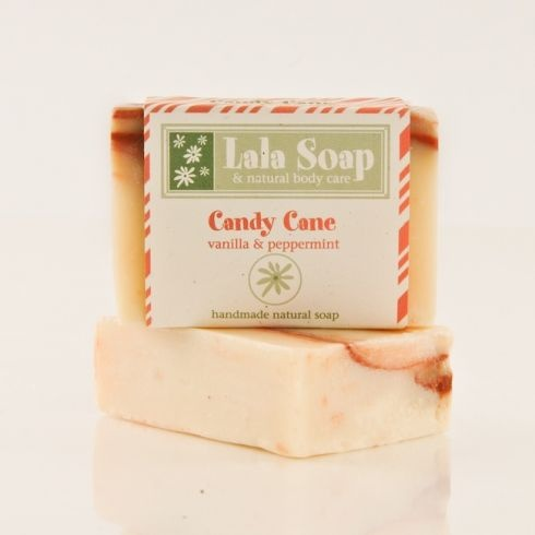 Candy Cane Handmade Natural Soap www.lalasoap.com $5.00   Peppermint & Vanilla with added cocoa butter....holiday special!