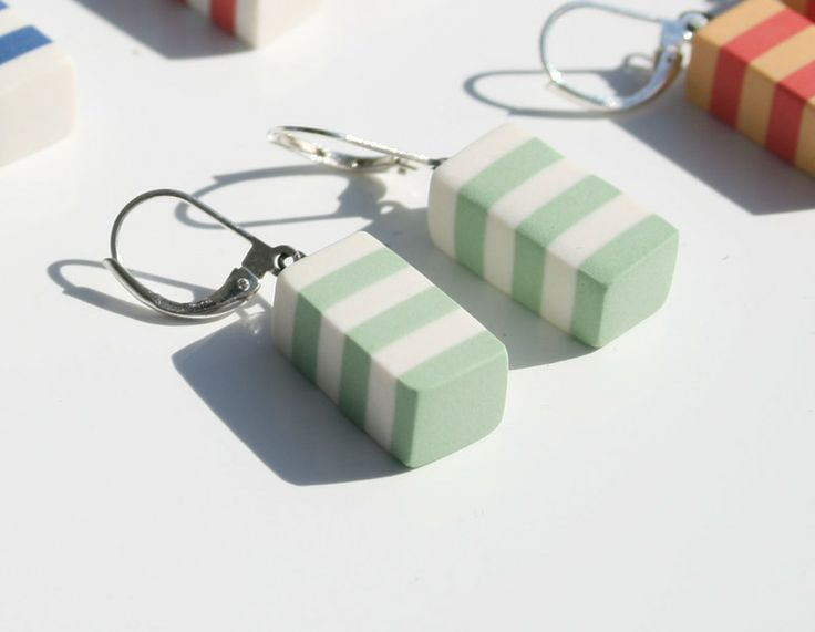 Striped, porcelainearrings, apple green from Marie Olofsson Productdesign by DaWanda.com