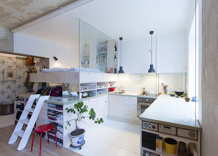 Karin Matz Renovates - HB6B Apartment - Stockholm Sweden - Tiny Apartment - Bedroom and Kitchen 1 - Humble Homes