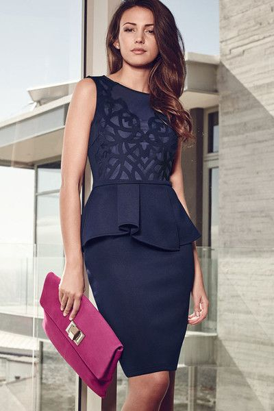 HisandHerFashion Navy Blue Carving Lace Peplum Dress