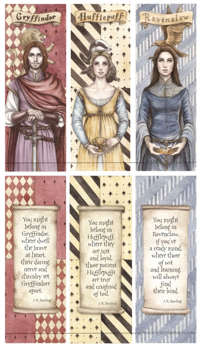 Hogwarts Founders Double-Sided Bookmarks by Achen089 on deviantART- She is still working of Salazar.
