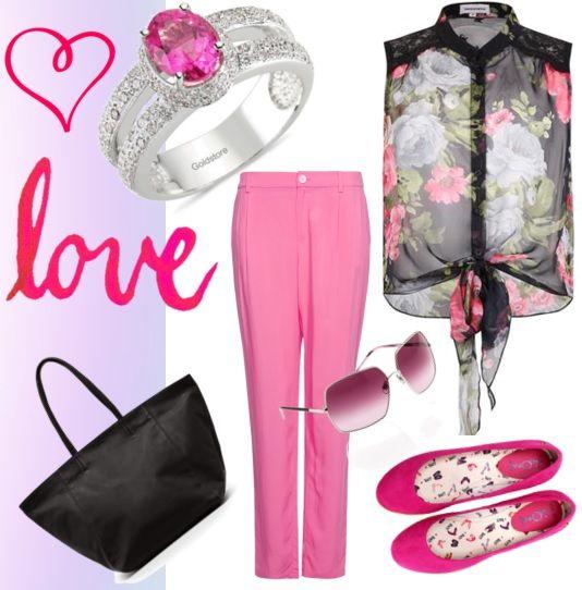 Pembe pantalon, önden düğümlü gömlek, pembe babet,gözlük, çanta, pembe taşlı yüzük, pembe elmas yüzük - Pink pants, shirt front knot, pink ballerina, glasses, bags, pink stone ring, pink diamond ring