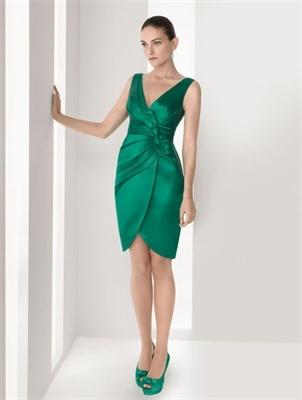 Mini short off-the-shoulder v-neck green satin Cocktail Dresses