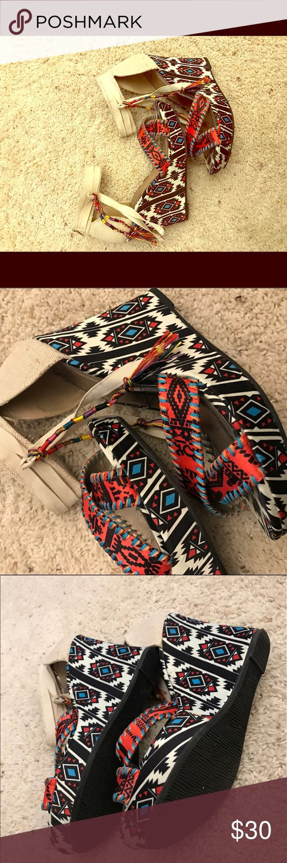 BKE sole tribal wedges Excellent condition! Literally wore them for a photo shoot one time. Enjoy these unique soles. BKE Shoes Wedges
