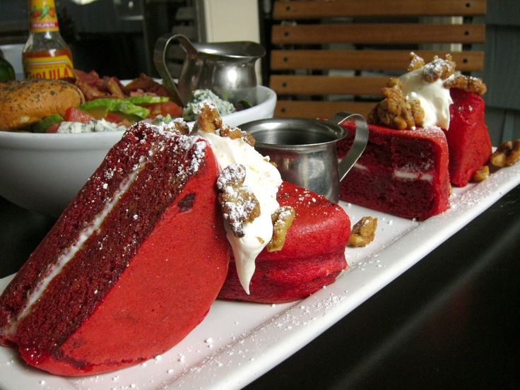 Red Velvet Pancakes. How do you eat that???
