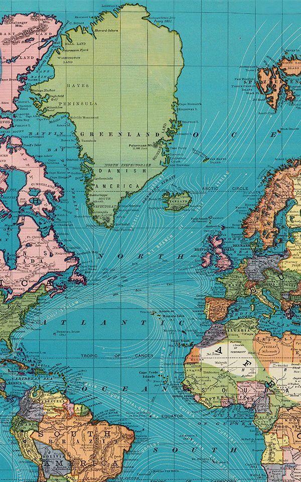 Gezeitenstromungs Weinlese Karten Wandgemalde Katie Bittner Bittner Gezeitenstromungsweinlesekartenwan World Map Wallpaper Map Wallpaper Wallpaper Space