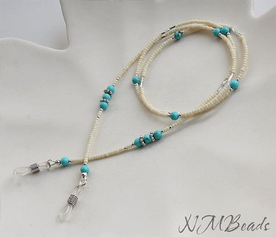 Eyeglasses Chain With Turquoise, Sterling Silver by NMBeadsJewelry