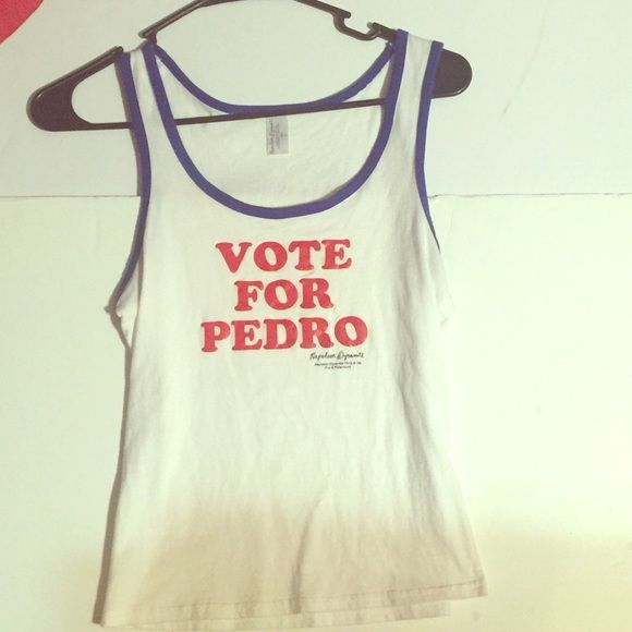 Napoleon dynamite vote for Pedro tank White tank vote for Pedro from the movie Napoleon dynamite says size large but it's like a xsmall small. No brand Tops Tank Tops