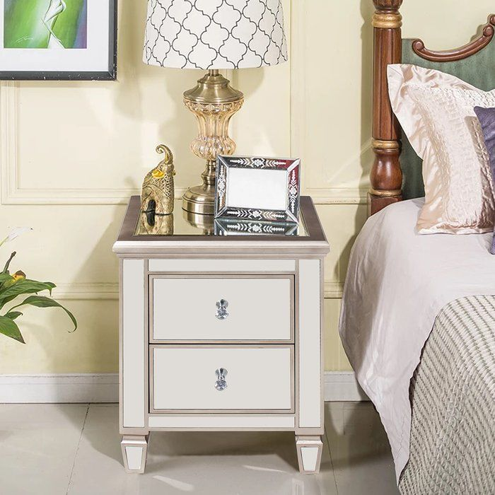 Laurine 2 Drawer Nightstand Mirrored Nightstand Bedside Night Stands Glamorous Bedroom Decor