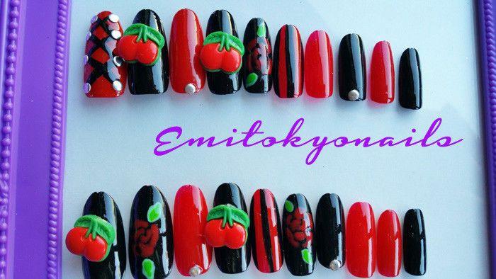 Cherry Nails,Pin up Girl nails,20 Nails,Stiletto Nails,Hand Painted False Nails