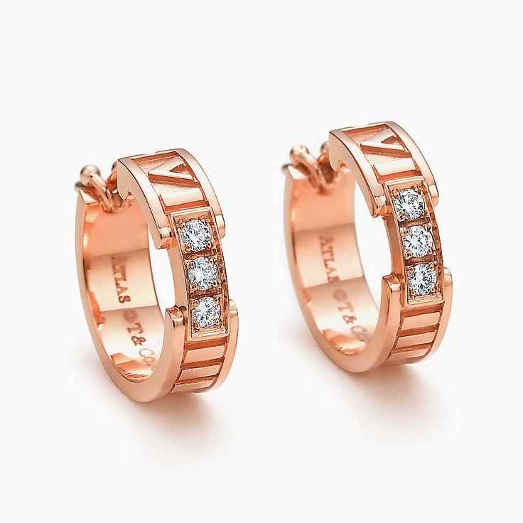 Atlas® hoop earrings in 18k rose gold with diamonds.