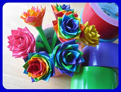 Duct Tape flowers! So much fun to make, and super easy to do.     This was one of the websites I found on how to do it, but youtube and google also have TONS of tutorials.     http://sevensistersinchrist.blogspot.com/2011/02/lucky-ducky-duct-tape-flower-pens.html
