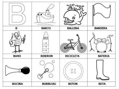 Laminas con dibujos para aprender palabras y colorear con letra: B ...